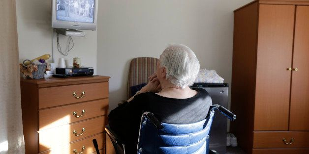 "FILE - In this Tuesday, Jan. 8, 2013, file photo, an elderly woman who has suffered abuse by a relative watches ""I Love Lucy"""