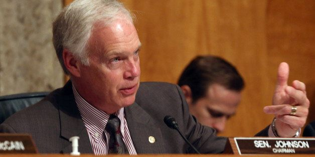 WASHINGTON, DC - APRIL 22: Chairman Ron Johnson (R-WI) speaks during a Senate Homeland Security and Governmental Affairs Comm