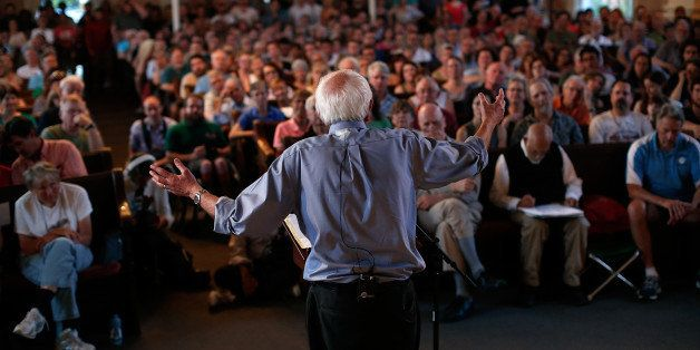 PORTSMOUTH, NH - MAY 27:  Democratic presidential candidate and U.S. Sen. Bernie Sanders (I-VT) delivers remarks at a town me