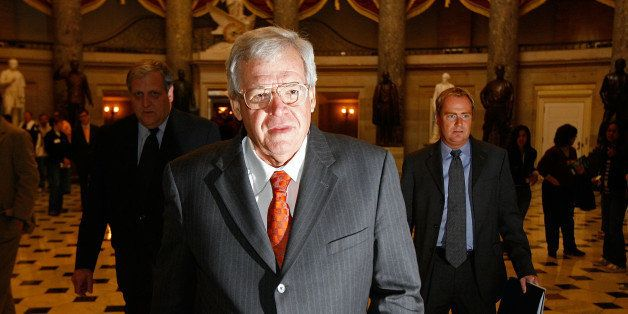 WASHINGTON - NOVEMBER 15:  Former Speaker of the House Dennis Hastert (R-IL) walks through Statuary Hall on his way to the Ho
