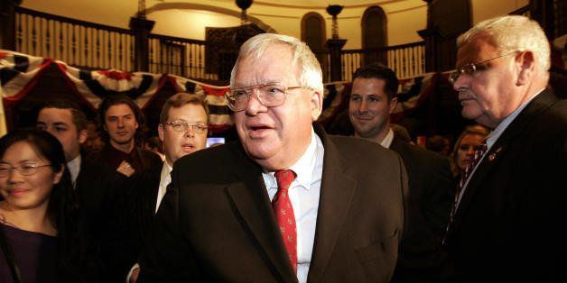 St Charles, UNITED STATES: US House Speaker Dennis Hastert leaves his election night party 07 November 2006 at the Baker Hotel in St. Charles, Illinois. Hastert won his district but will lose his job as Speaker after the Republicans appear headed to lose control of the House of Representatives to the Democrats. AFP PHOTO/Jeff HAYNES (Photo credit should read JEFF HAYNES/AFP/Getty Images)