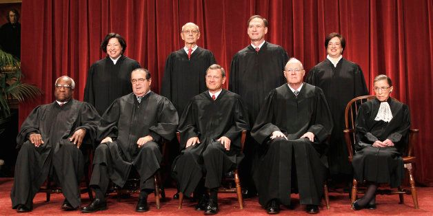 FILE -In this Oct. 8, 2010 file photo justices of the U.S. Supreme Court gather for a group portrait at the Supreme Court in