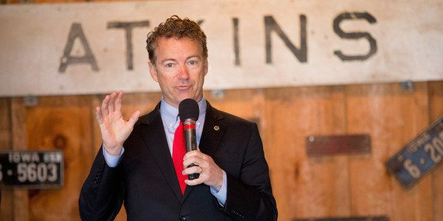 ATKINS, IA - APRIL 25:  Senator Rand Paul (R-KY) speaks to guests at a campaign event at Bloomsbury Farm on April 25, 2015 in