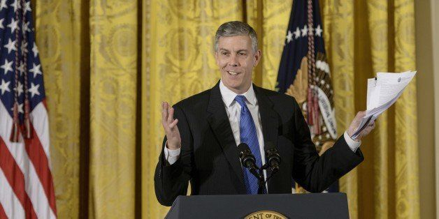 US Secretary of Education Arne Duncan speaks at the ConnectED conference in the East Room of the White House November 19, 201