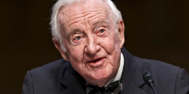 Retired Supreme Court Justice John Paul Stevens testifies on the ever-increasing amount of money spent on elections as he app