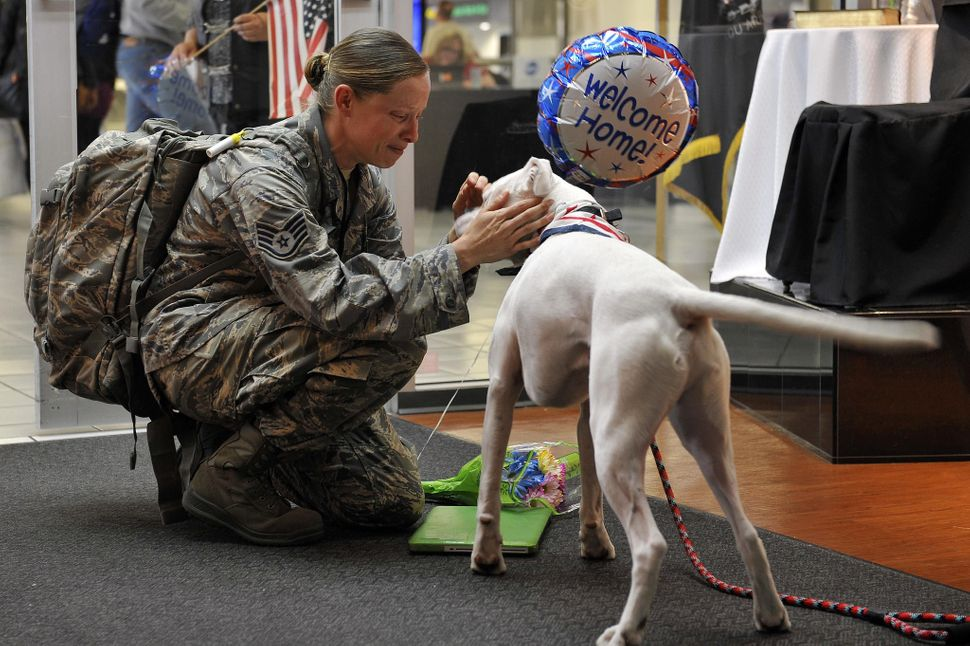 Staff Sgt. Arin Vickers, assigned to the 435 Supply Chain Operations Squadron, is greeted by her dog when she arrives at the