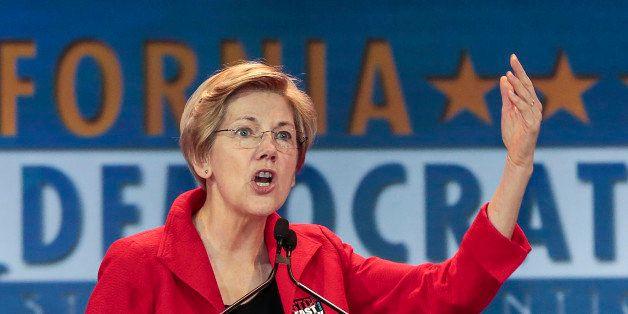 U.S. Sen. Elizabeth Warren, D-Mass., speaks at the California Democrats State Convention in Anaheim, Calif., on Saturday, May