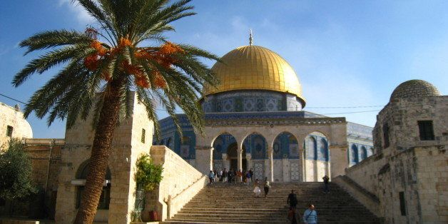 The Dome of the Rock sits at the Temple Mount site - Mount Moriah, over the rock where Abraham prepared to sacrifice his son
