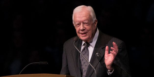 FILE - In this March 4, 2015, file photo, former President Jimmy Carter speaks during the memorial service for Rev. Theodore