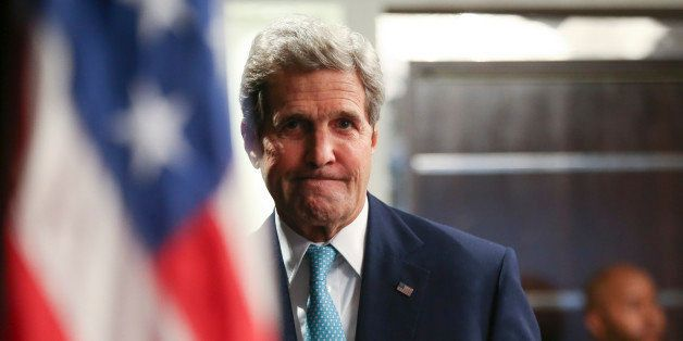 FILE - In this Monday, May 4, 2015 file photo, U.S. Secretary of State John Kerry arrives to speak at a news conference at th