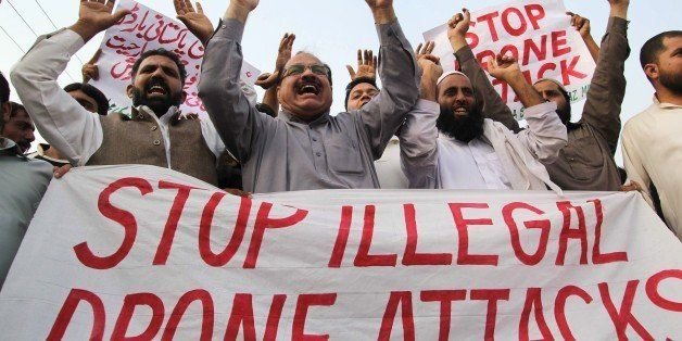 Pakistani protesters from the United Citizen Action (UCA) group shout anti-US slogans during a demonstration against US drone