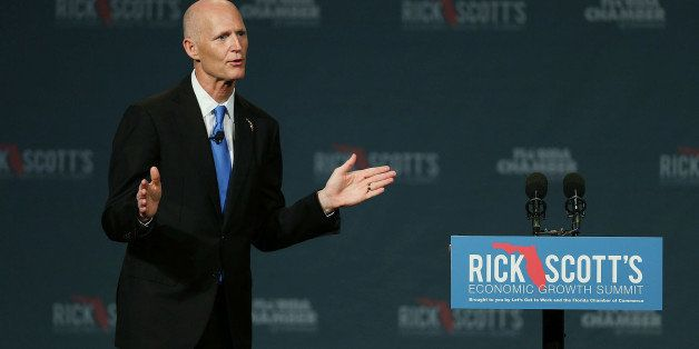 ORLANDO, FL - JUNE 02:  Florida Governor Rick Scott makes an introductory statement before the start of the Rick ScottÕs Eco