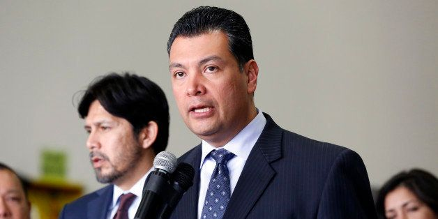 California State Sen. Alex Padilla speaks at a news conference to announce a possible agreement in the California legislature