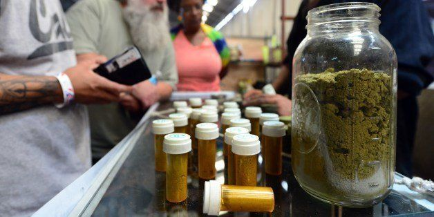 Card-carrying medical marijuana patients eager to learn more about Kief, in jar, at Los Angeles' first-ever cannabis farmer's