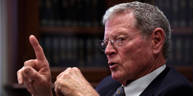 Sen. James Inhofe, R-Okla., speaks to reporters, Wednesday, Jan. 7, 2015, on Capitol Hill in Washington. (AP Photo/Susan Wals