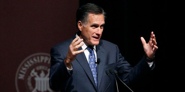 Former GOP presidential candidate Mitt Romney addresses the student body and guests at Mississippi State University in Starkv