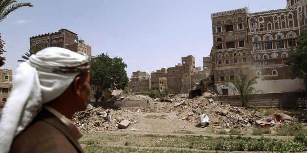 A view of the destruction in the UNESCO-listed heritage site in the old city of Yemeni capital Sanaa, on June 15, 2015. UNESC