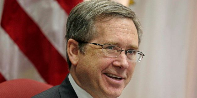 FILE - In this June 9, 2014 file photo, U.S. Sen. Mark Kirk R-Ill. speaks during an interview in his office. Kirk says the di