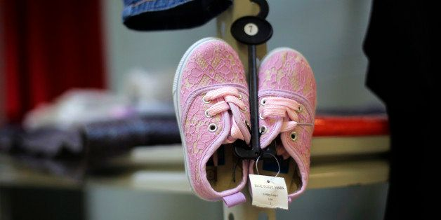 A pair of new shoes are seen at the Karnes County Residential Center in Karnes City, Texas on Thursday, July 31, 2014. Federa