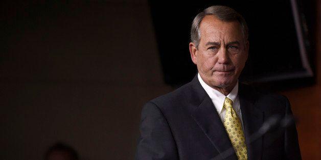 House Speaker John Boehner of Ohio arrives for a news conference on Capitol Hill in Washington, Thursday, June 4, 2015. House