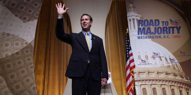 WASHINGTON, DC - JUNE 19:  Republican U.S. presidential hopeful and former U.S. Sen. Rick Santorum (R-PA) waves after speakin
