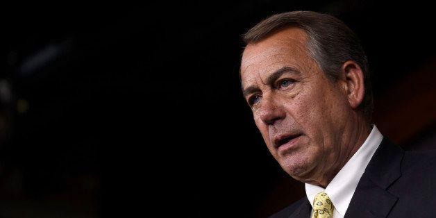 House Speaker John Boehner of Ohio speaks during a news conference on Capitol Hill in Washington, Thursday, June 4, 2015. (AP