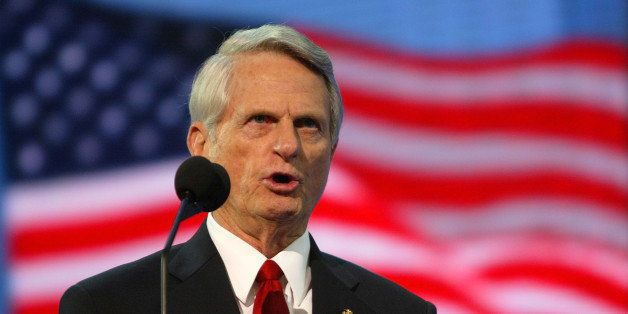 NEW YORK - SEPTEMBER 01:  Sen. Zell Miller (D-GA) speaks on night three of the Republican National Convention September 1, 20