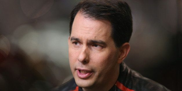DES MOINES, IA - JUNE 06:  Wisconsin Governor Scott Walker sits for an interview before participating in a Roast and Ride eve