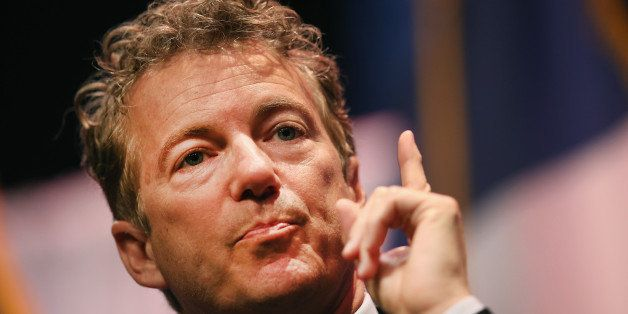 WAUKEE, IA - APRIL 25:  Senator Rand Paul (R-KY) speaks to guests gathered at the Point of Grace Church for the Iowa Faith an