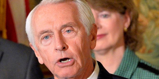 FILE - In this Nov. 6, 2014 file photo, Kentucky Gov. Steve Beshear speaks in Frankfort, Ky. Democrats are turning to Beshear