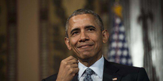 US President Barack Obama addresses the Catholic-Evangelical Leadership Summit on Overcoming Poverty at Georgetown University