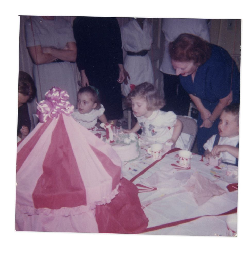 Caroline Kennedy blowing out her birthday candles.