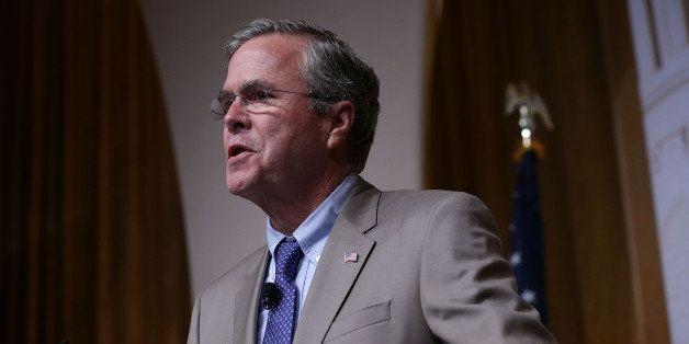 WASHINGTON, DC - JUNE 19:  Republican U.S. presidential hopeful and former Florida Governor Jeb Bush speaks during the 'Road