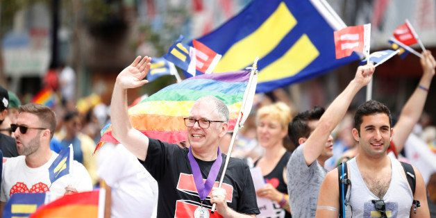 IMAGE DISTRIBUTED FOR HUMAN RIGHTS CAMPAIGN - Jim Obergefell is seen riding in the San Francisco Pride Parade on Sunday, June