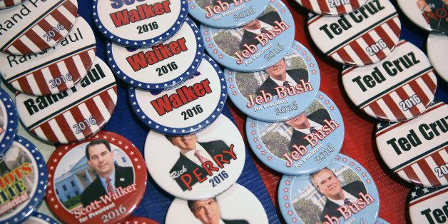 WAUKEE, IA - APRIL 25:  A vendor sell campaign buttons at the Point of Grace Church before the start of the Iowa Faith and Fr