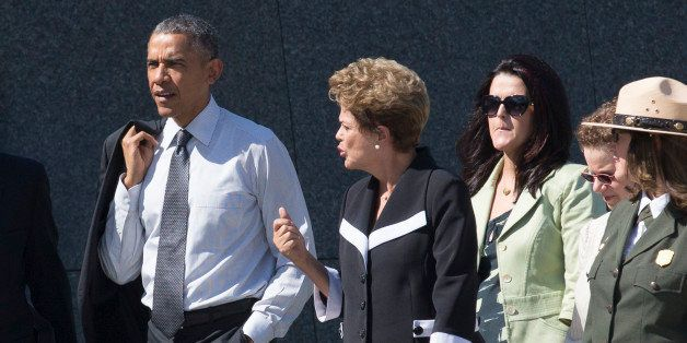 WASHINGTON, DC - JUNE 29:  (AFP OUT) U.S. President Barack Obama (L) and President of Brazil Dilma Rousseff (C) visit the Mar