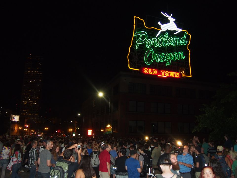 Thousands flocked to Burnside Bridge in Portland at the stroke of midnight July 1 to celebrate the end of marijuana prohibiti