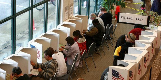 PORTLAND, OR - MAY 20:  Voters cast ballots at the Multnomah County elections office May 20, 2008 in Portland, Oregon.  Senat