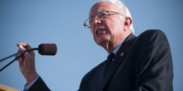 Sen. Bernie Sanders, I-Vt., speaks on Tuesday, May 26, 2015 in Burlington, Vt., where he formally announced he will seek the