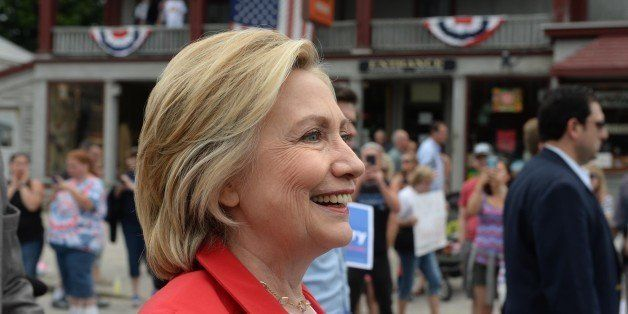 GORHAM, NH - JULY 4: Democratic presidental candidate Hillary Clinton marches in the Gorham fourth of July parade July 4, 201