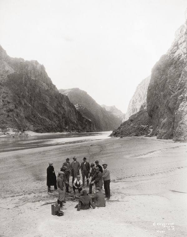 An inspection party near the proposed site of the Hoover Dam (aka Boulder Dam) in the Black Canyon of the Colorado River, cir