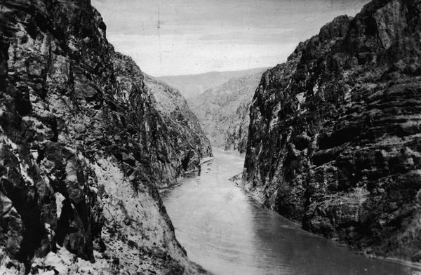 Black Canyon on the Boulder river in Colorado before work starts on the construction of the Boulder Dam aka Hoover Dam.