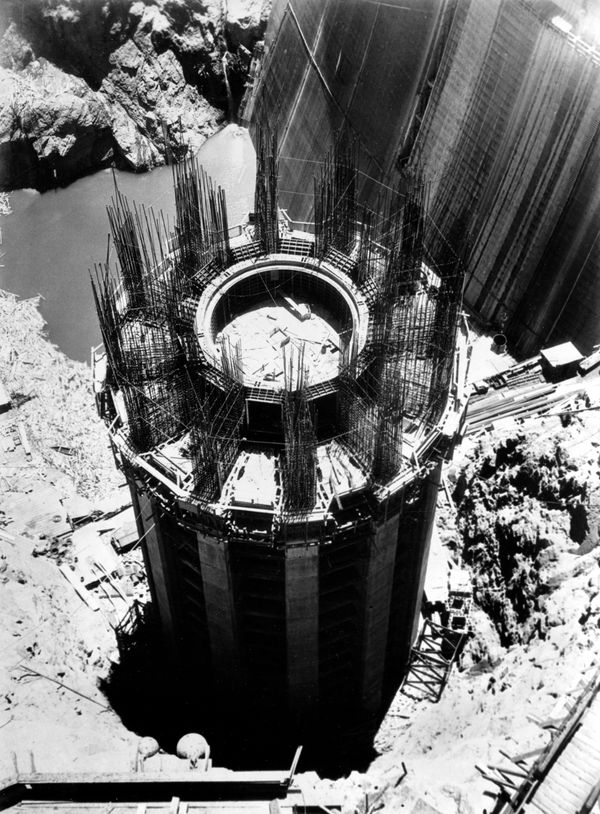 This is an aerial view of one of the four intake towers of the Hoover Dam, Aug. 9, 1934.  The towers, two on each side of the