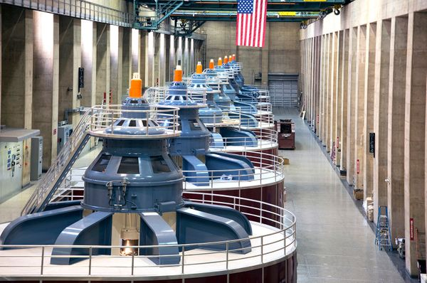 The turbines inside Hoover Dam in 2013.