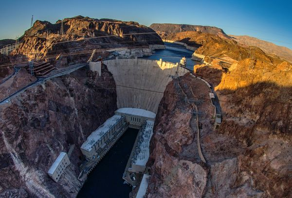 This April 13, 2014 view shows Hoover Dam, a concrete arch-gravity dam in the Black Canyon of the Colorado River on the borde