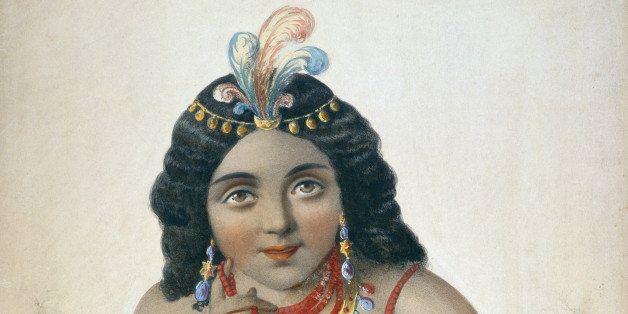 Native American princess Pocahontas, or Matoaka (1595 - 1617), circa 1615. The daughter of Virginian Native American chief Po