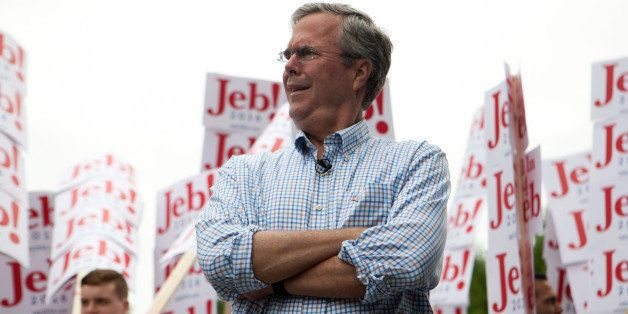 AMHERST, NH - JULY 4: Republican Presidential candidate Jeb Bush participated in 4th of July Parade on July 4, 2015 in Amhers