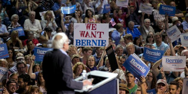 Democratic presidential candidate Sen. Bernie Sanders, I-Vt., speaks at a campaign rally, Monday, July 6, 2015, in Portland,