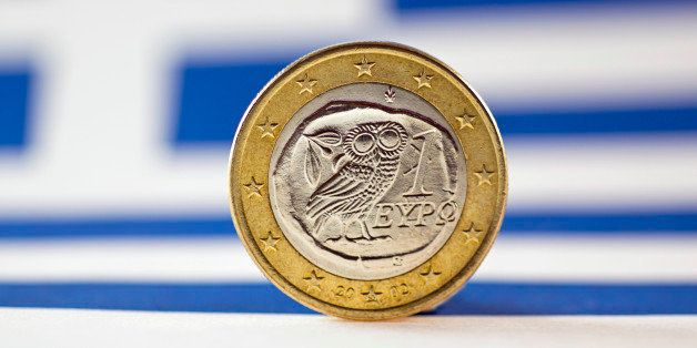 Greek 1 Euro coin, Flag of Greece