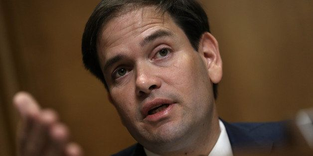 WASHINGTON, DC - MAY 20:  Republican presidential candidate Sen. Marco Rubio (R-FL) questions Assistant U.S. Secretary of Sta